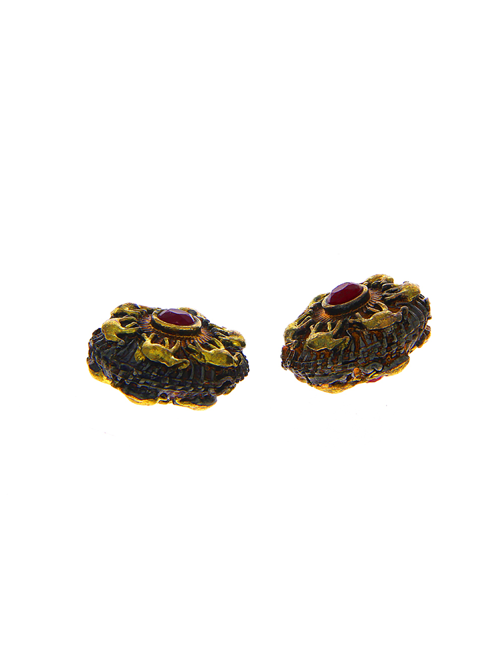 Red Colour Gold Finish Oxidized Beads Material