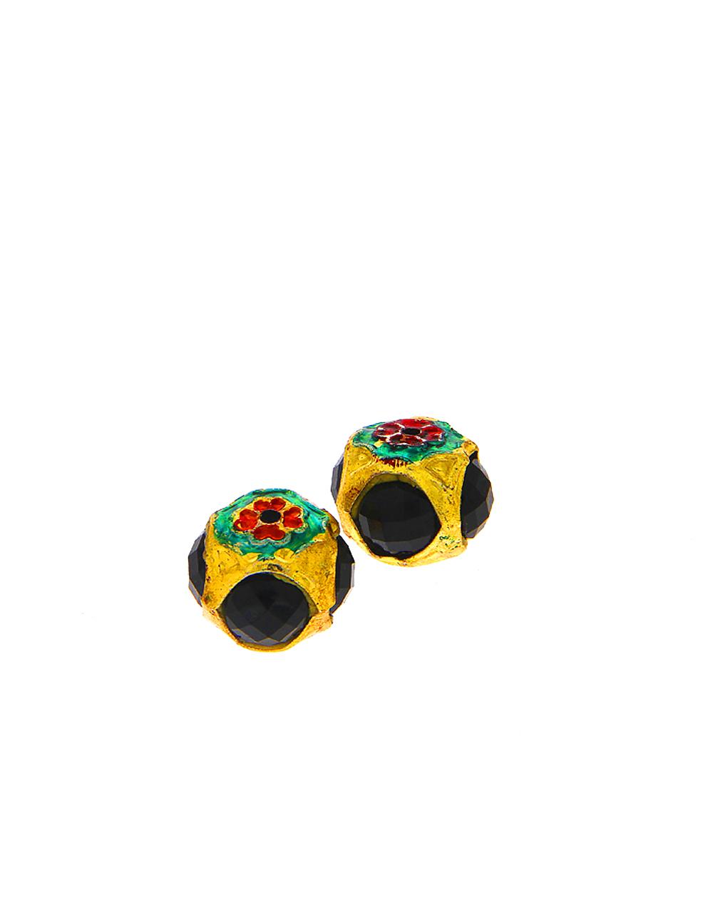 Black Colour Floral Design Jewellery Material