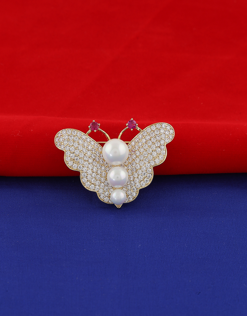 Gold Finish Butterfly Design Brooch