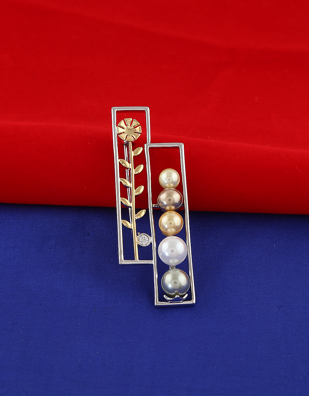 Silver Finish Styled With Pearls Unique Brooch
