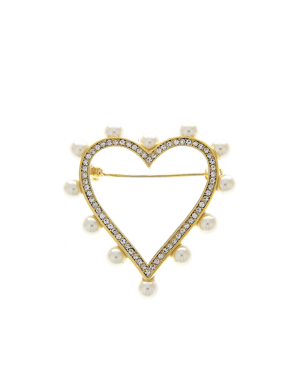 Gold Finish Heart Styled Brooch Pin