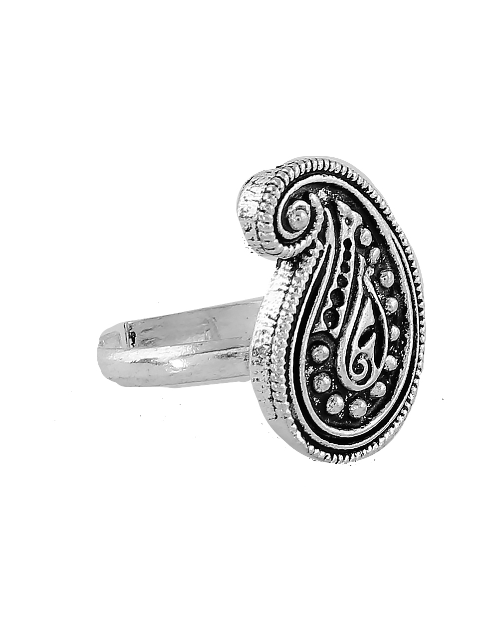 Silver Finish Oxidised Toe Ring For Women