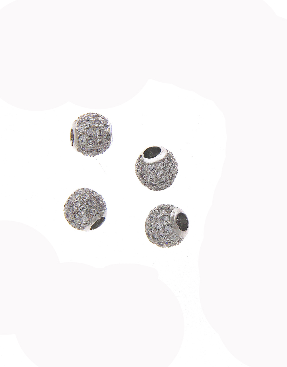 Silver Finish Beads Studded With Diamond Material
