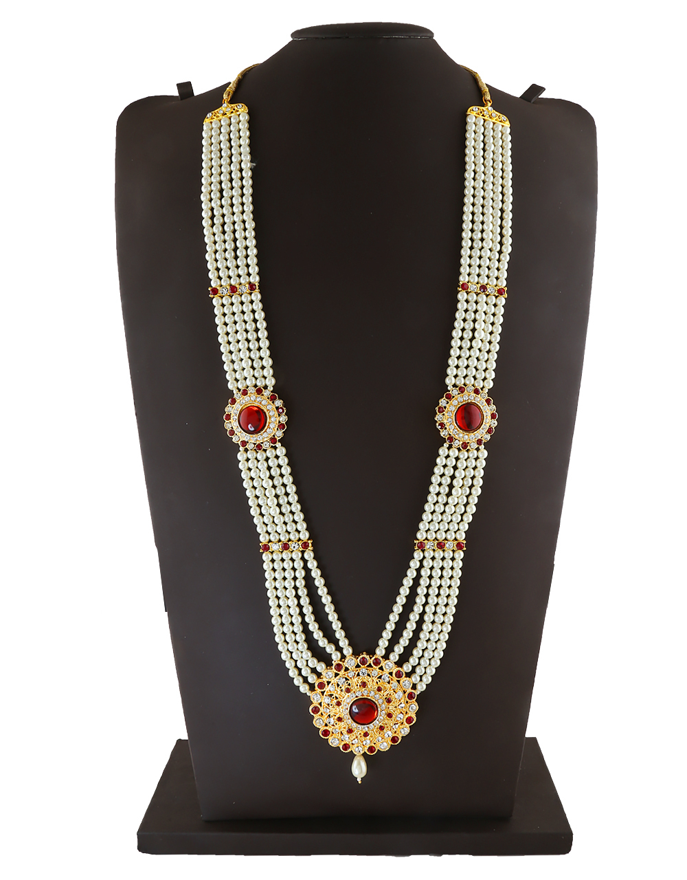 Red Colour Floral Design Moti Jewellery