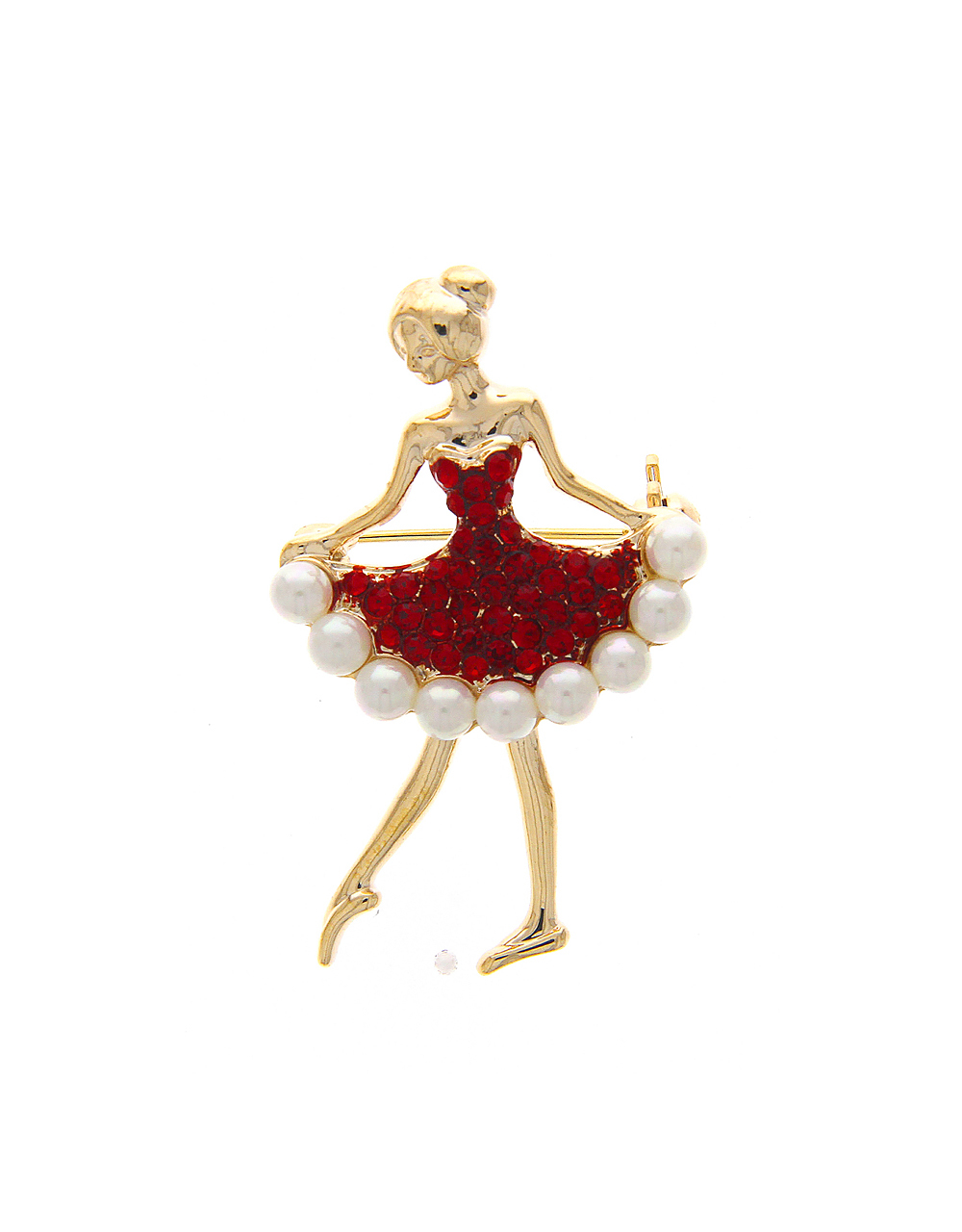 Red Colour Dancing Doll Brooch Pin