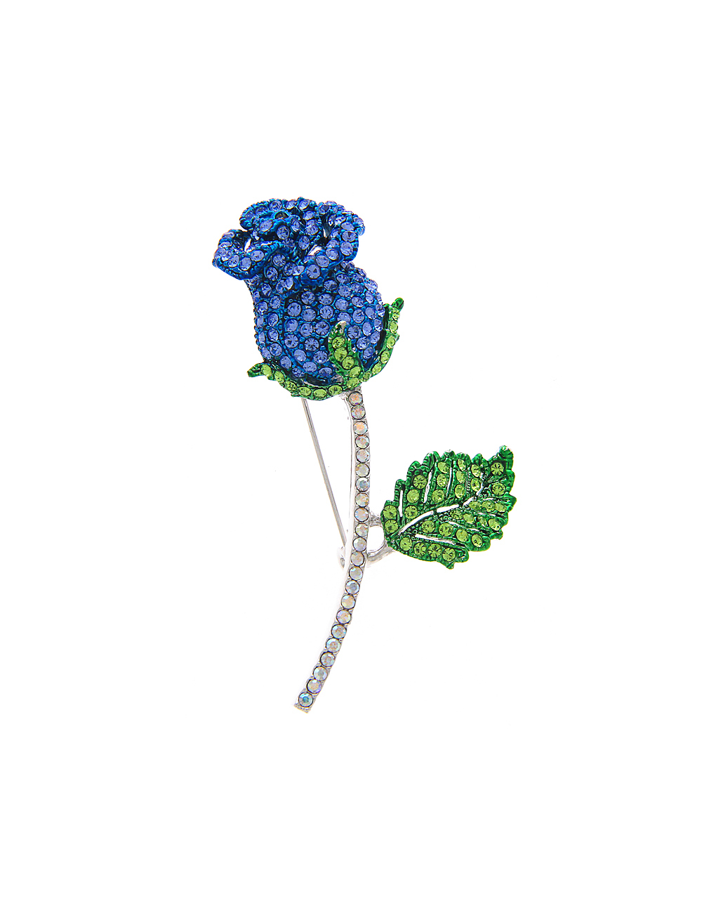 Silver Finish Rose Design Blue-Green Colour Brooch