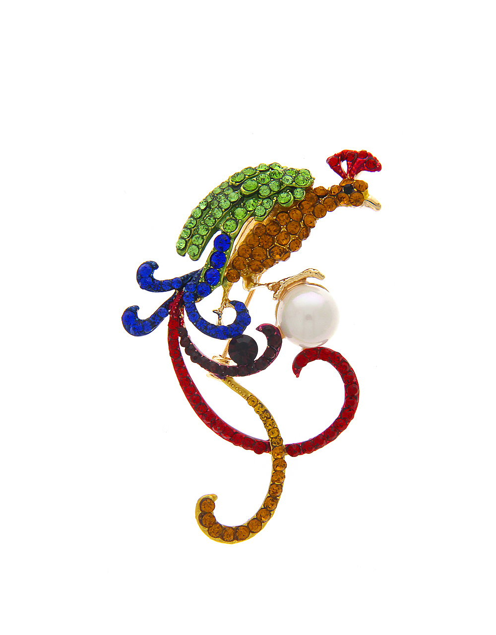Peacock Brooch Embedded with Sparkling Multi Colour Stones