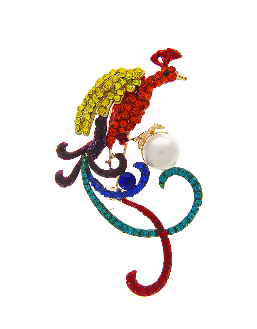 Peacock Brooch In Multi Colour Embedded with Sparkling Stones