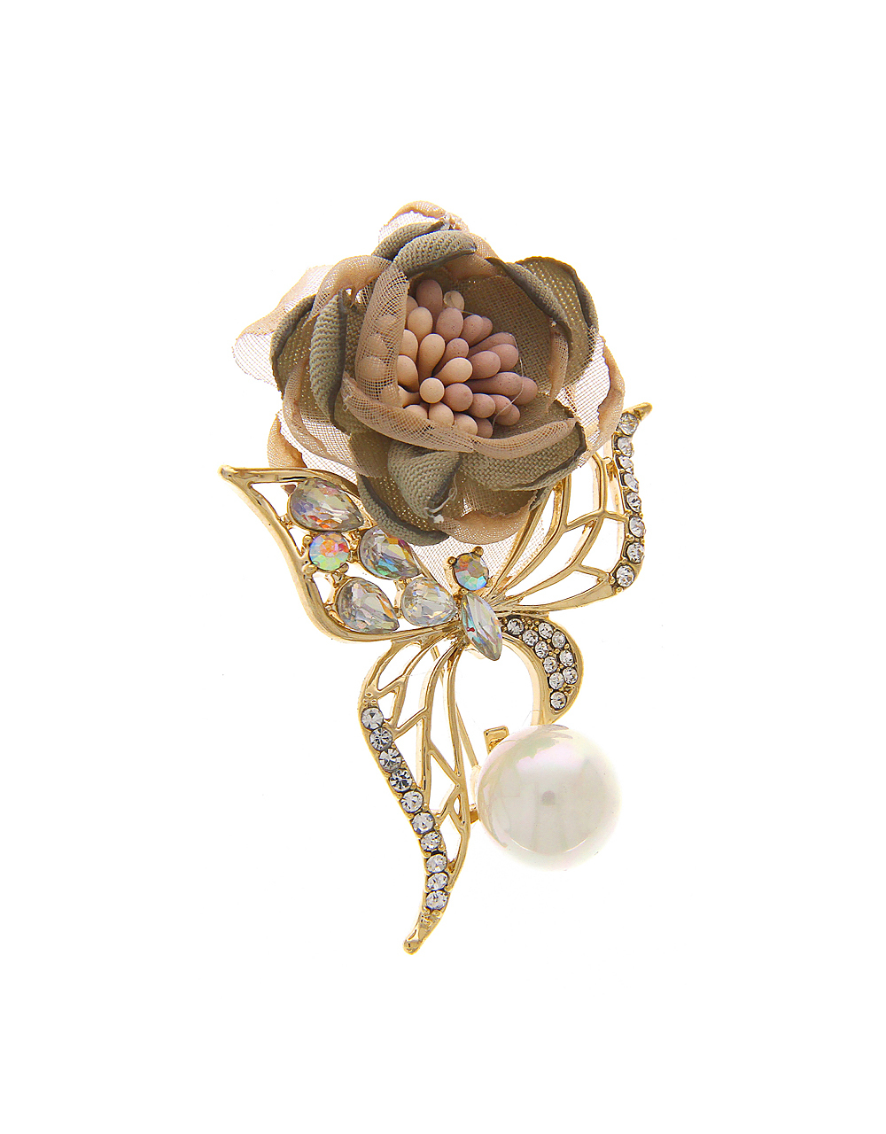 Gold Finish Brooch in Beautiful Flower Butterfly Design
