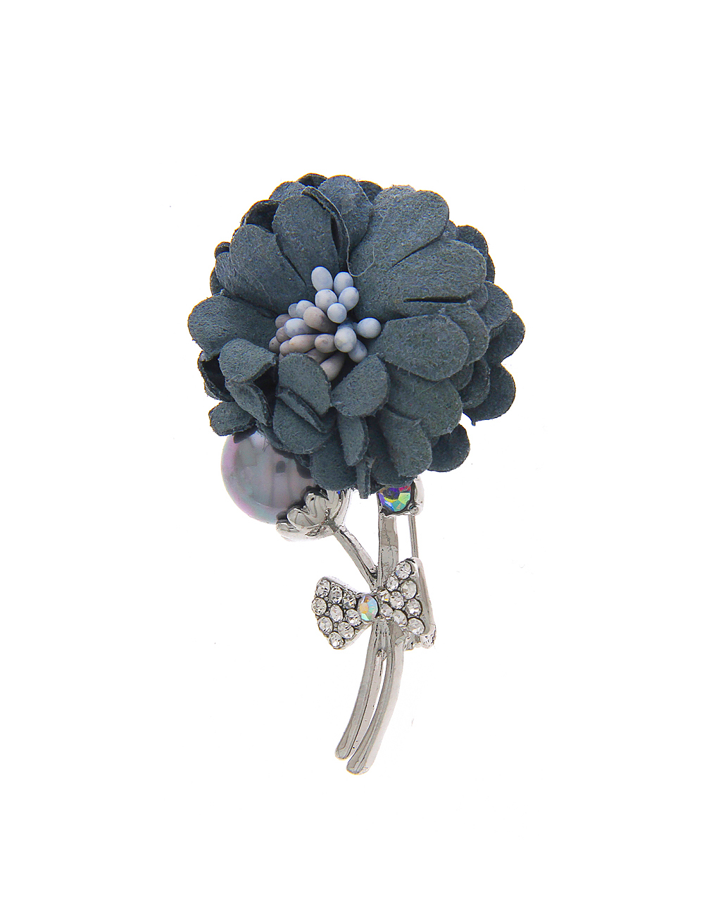 Silver Finish Brooch In Beautiful Floral Design
