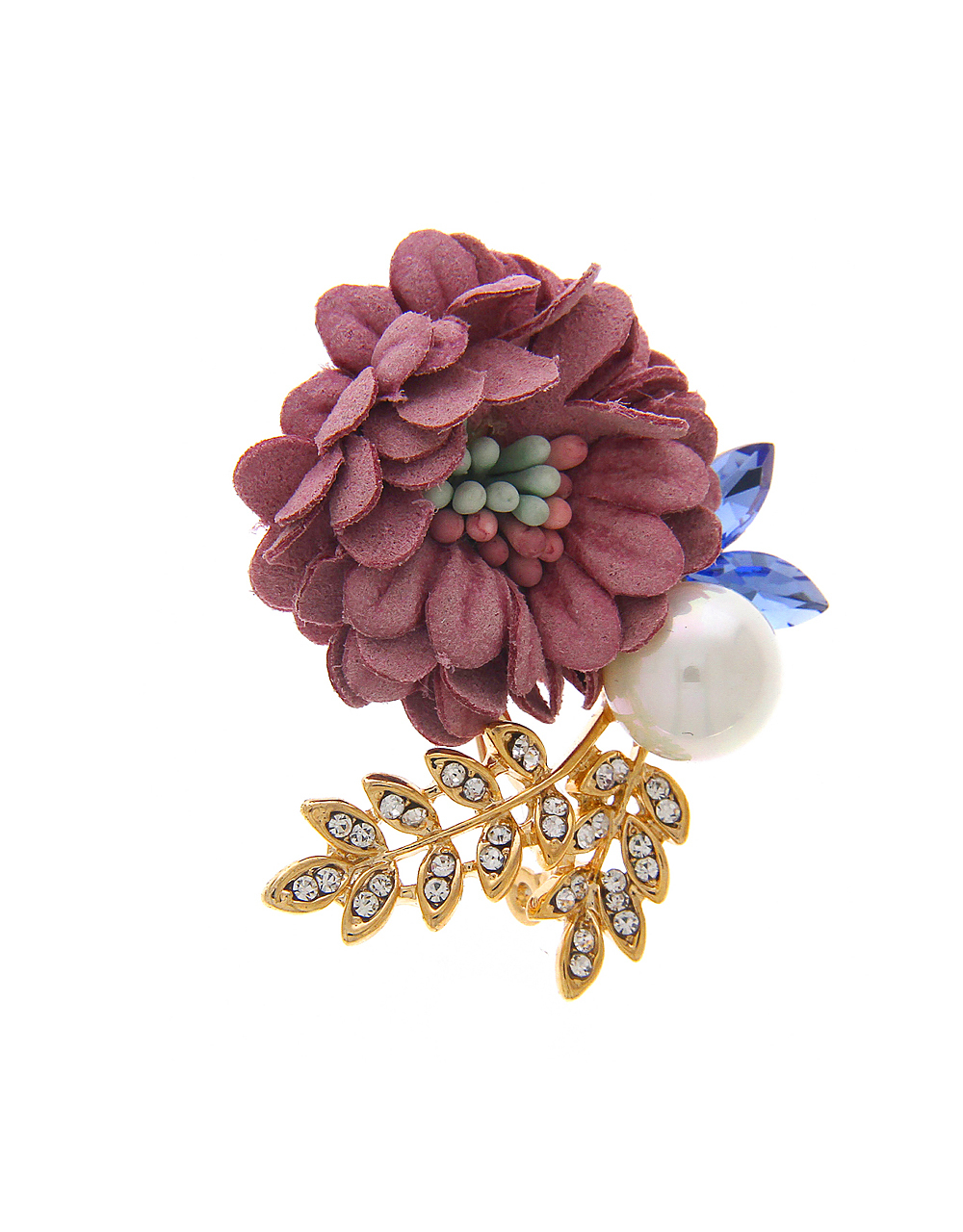 Pink Blue Combination Brooch Pin Styled with Sparkling Stones for Men