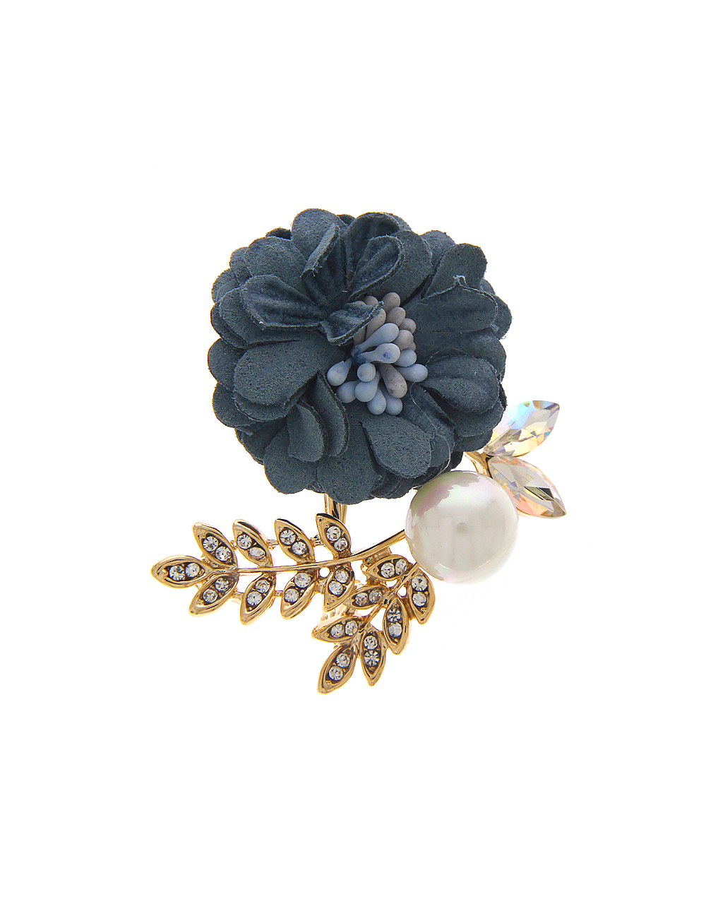 Grey Floral Brooch Styled With Sparkling Stones  Pearls