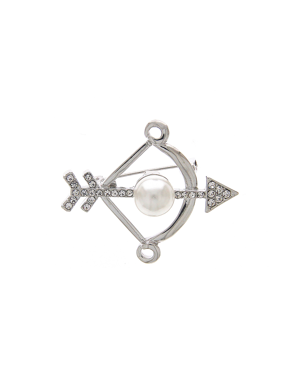 Stylish Silver Brooch Encrusted with Sparkling Stone for Men