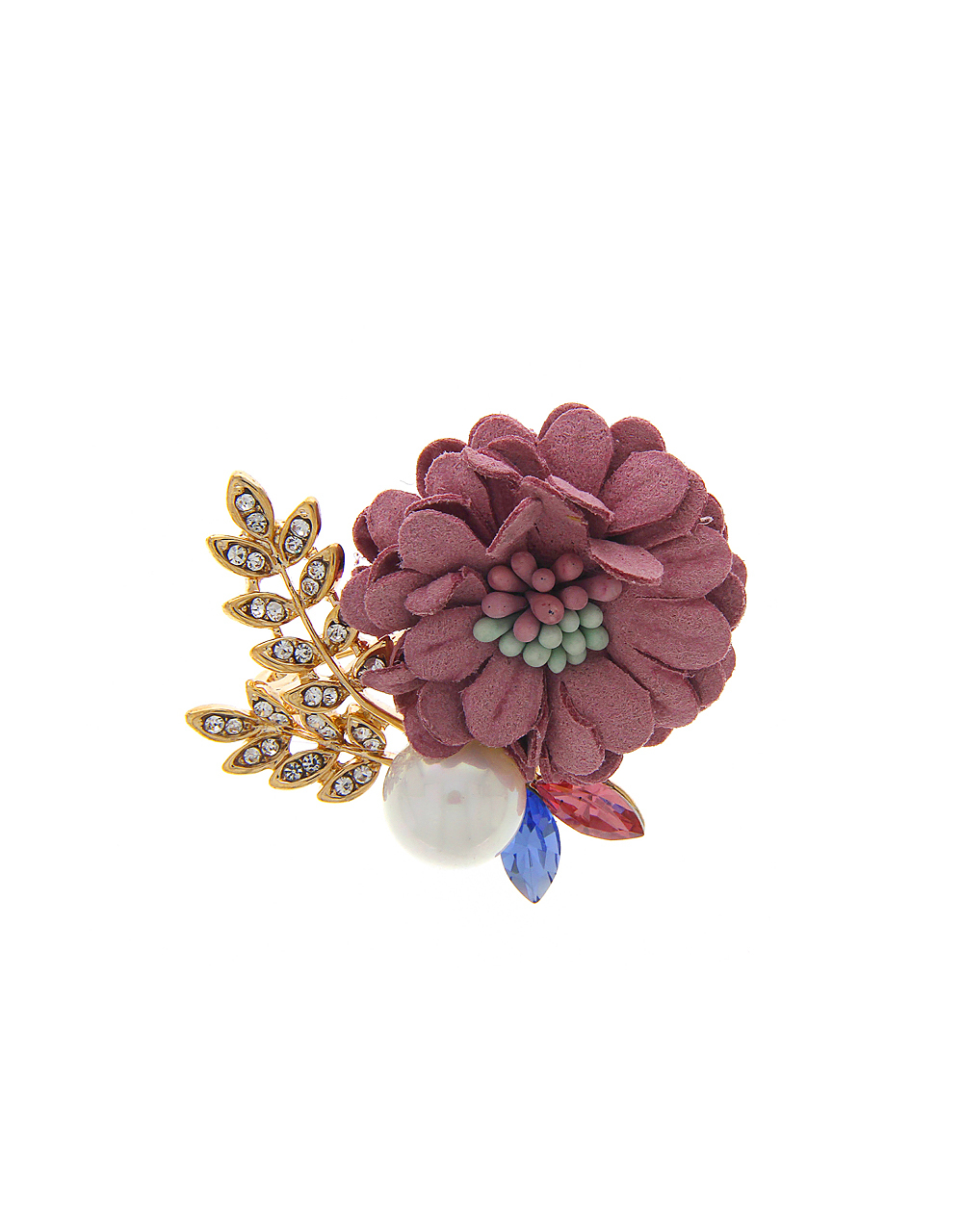 Pink Floral Brooch Styled With Sparkling Stones and Beads