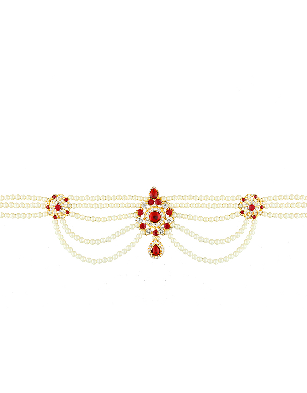 Moti Kamarband in Red Colour for Women
