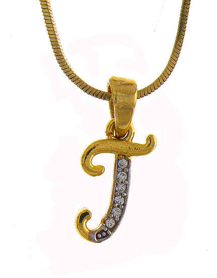Designer Gold Finish 'T' Styled Diamond Jewellery