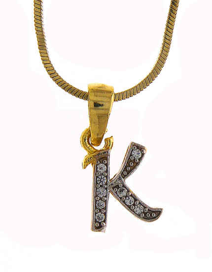 Gold Finish Fancy 'K' Styled Pendant Jewellery