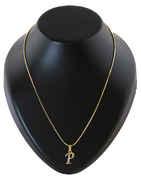 Gold Finish 'P' Styled Diamond Pendant Jewellery