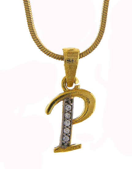 Gold Finish 'P' Styled Diamond Pendant Jewellery
