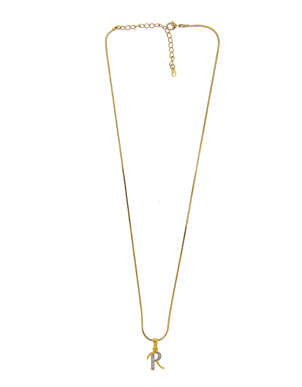 Adorable Gold Finish 'R' Styled Diamond Pandant Set