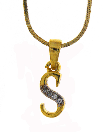 Alphabet Diamond Pendant Jewellery Set