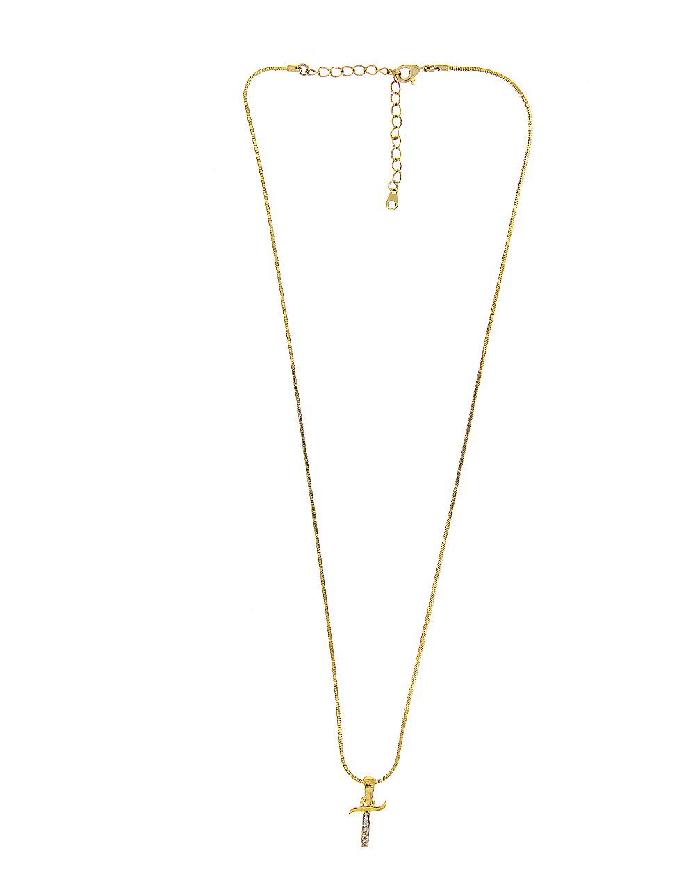 Gold Finish 'T' Styled American Diamond Pendant