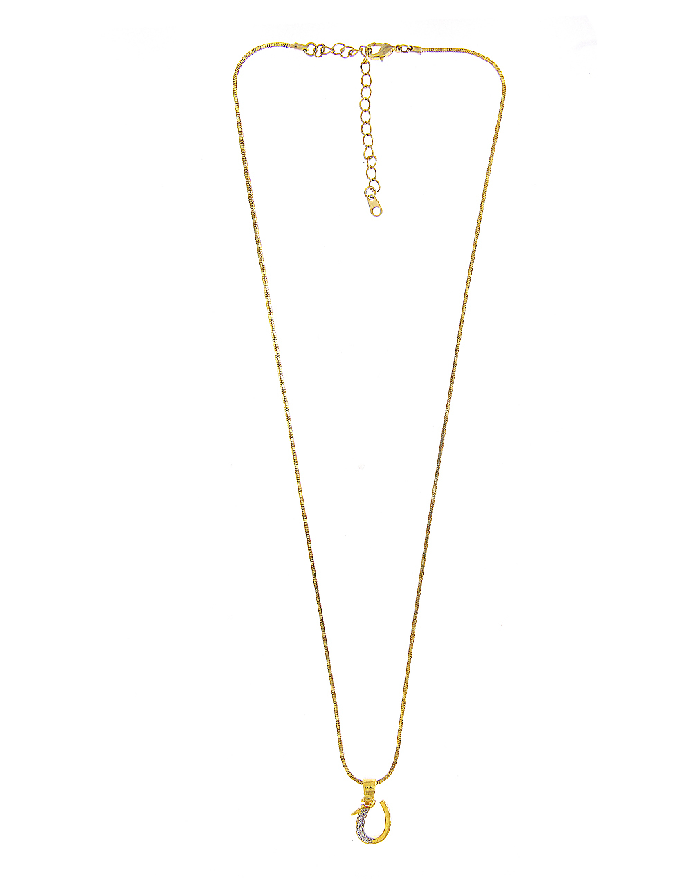 Gold Finish 'U' Styled Diamond Jewellery Set