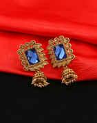 Blue Colour Gold Finish Designer Jhumki