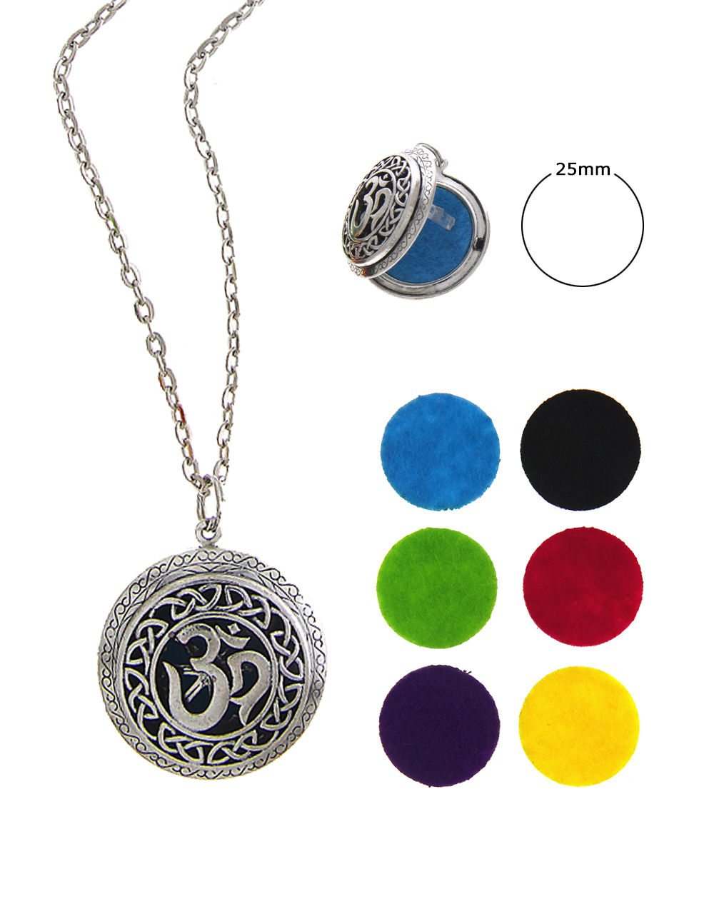 Silver Finish 'OM' Styled Designer Oil Aromathery Locket Set