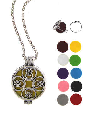 Silver Tone Fancy Changeble Oil Aromatherapy Pendant Set
