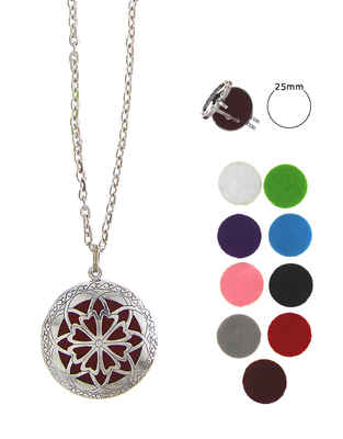 Floral Design Silver Finish Fancy Oil Diffuser Pendant Set