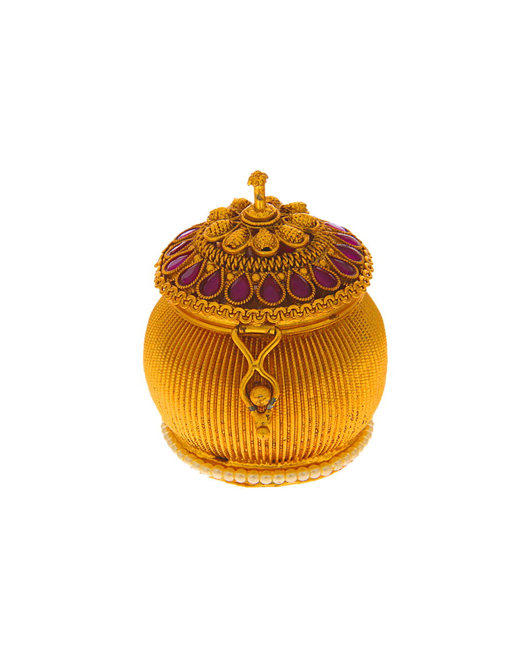 Matte Gold Finish Traditional Sindoor Box