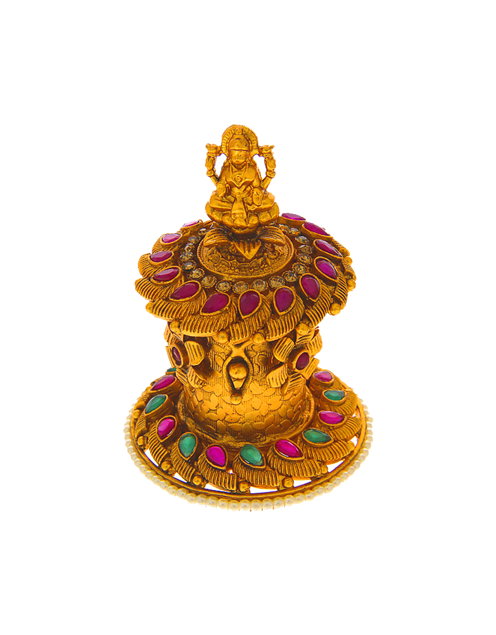 Multi Colour Temple Design Sindoor Box
