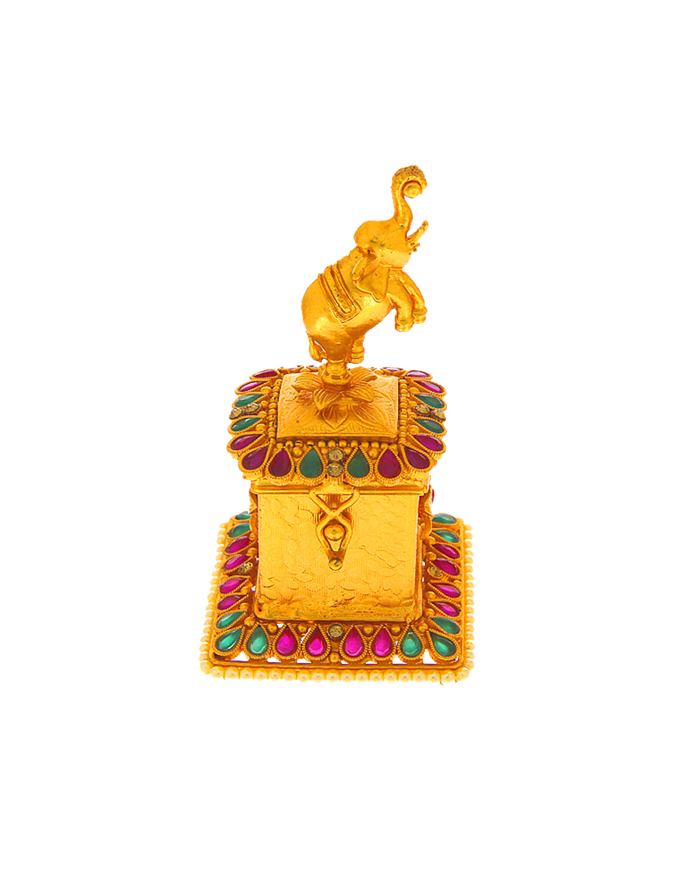 Gold Finish Elephant Design Multi Colour Kumkum Box