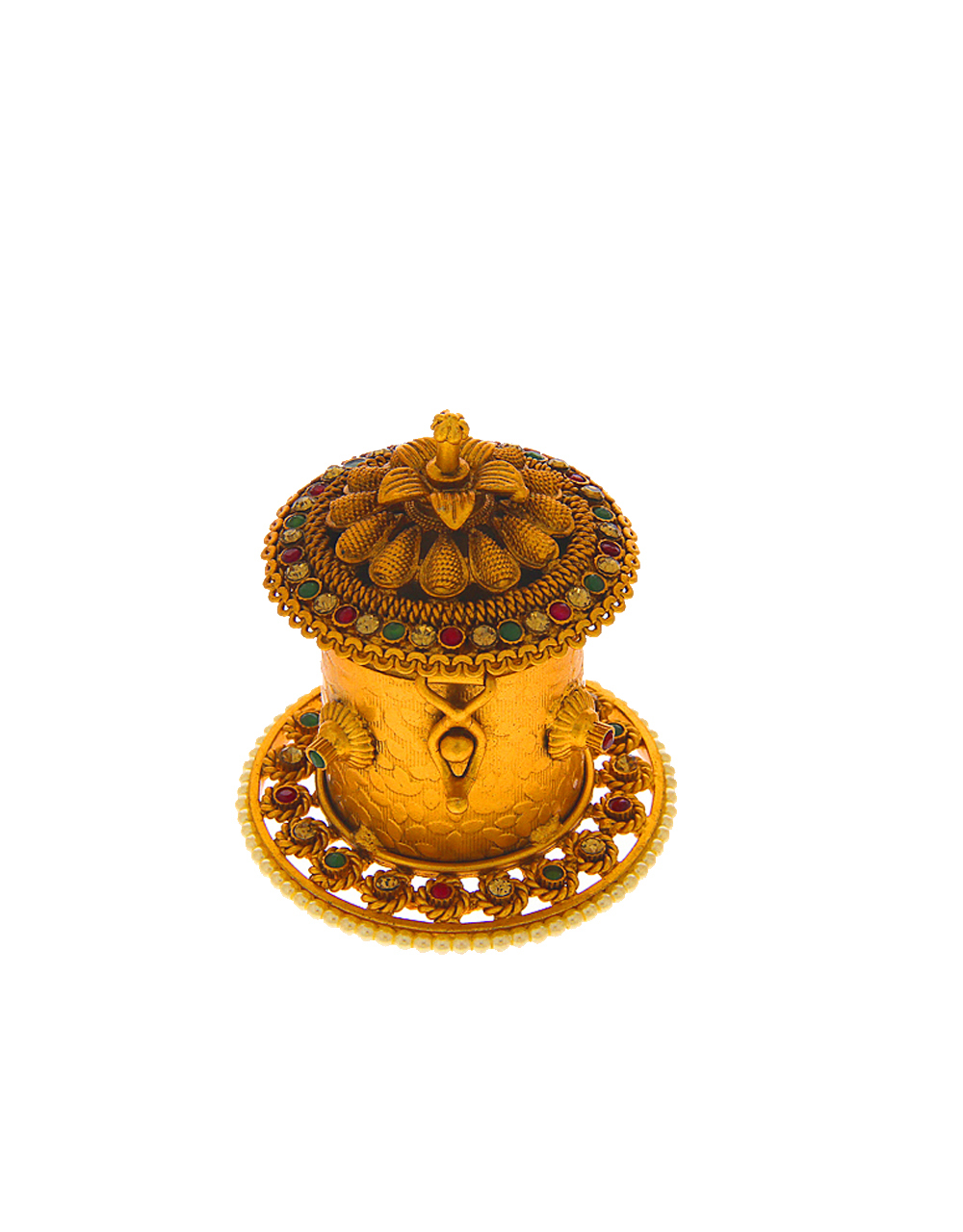 Multi Colour Beautiful Matte Gold Finish Sindoor Box