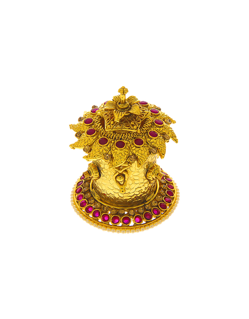 Pink Colour Gold Finish Sindoor Box