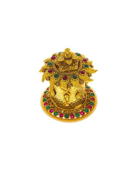 Multi Colour Gold Finish Kumkum Bharani Box
