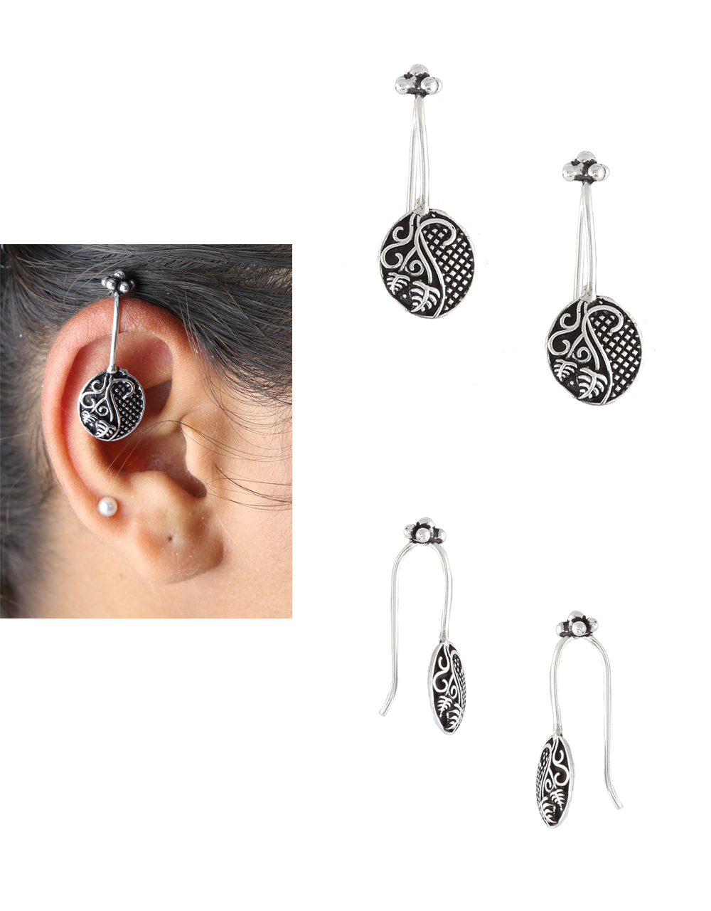 Oxidised Finish Simple Fancy Bugadi Earring