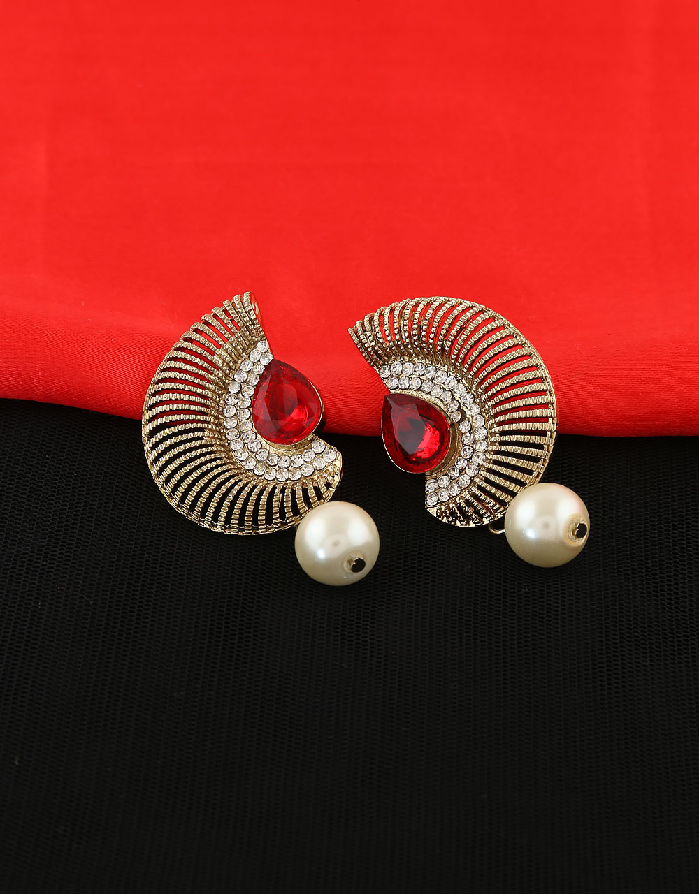 Red Colour Antique Gold Finish Earring Tops Loading Zoom