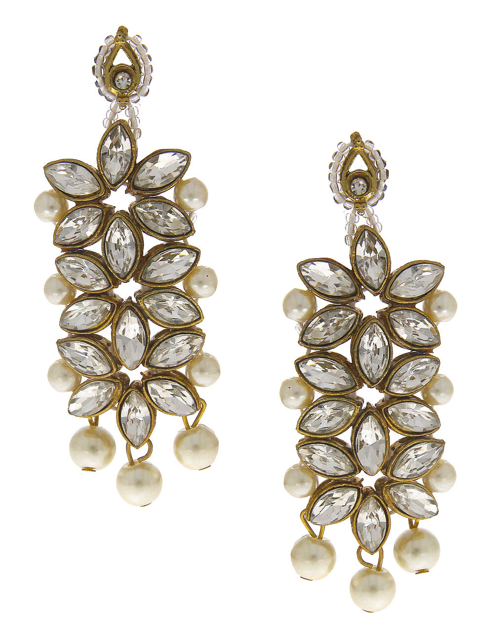 Antique Gold Finish Fashionable Earrings Styled With Pearls Earrings