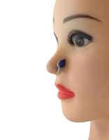 Blue Colour Oxidised Finish Fancy Piercing Nose Stud