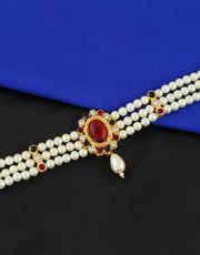 Gold Finish Designer Bajuband Styled With Pearls Traditional Bajuband