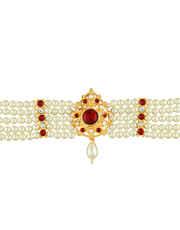 Red Colour Gold Finish Designer Bajuband Fancy