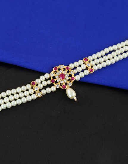 Pink Colour Floral Design Moti Maharashtrian Bajuband