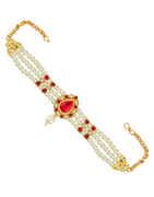 Pink Colour Droplet Shape Marathi Moti Jewellery Bajuband