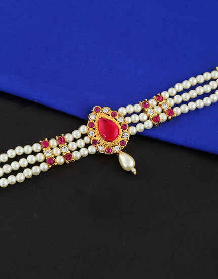 Pink Colour Droplet Shape Marathi Moti Jewellery Bajuband