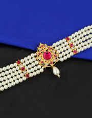 Pink Colour Gold Finish Moti Maharashtrian Bajuband