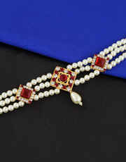 Red Colour Pearl Beaded Designer Armband  for Women
