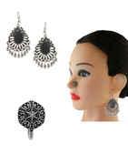 Designer Oxidised Finish Fashionable Earring Nose Stud Combo Set