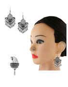 Designer Silver Finish Adorable Oxidised Earring Nose Ring Combo Set